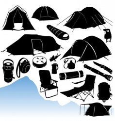 camping equipments vector image