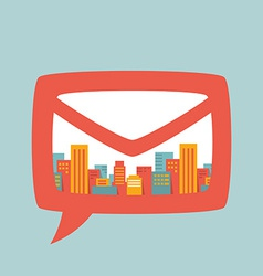 A large city in bubble mail vector