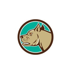 Mastiff dog mongrel head circle cartoon vector