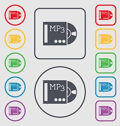 Mp3 player icon sign symbols on the round and vector