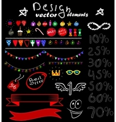 Set of retro elements for design vector image