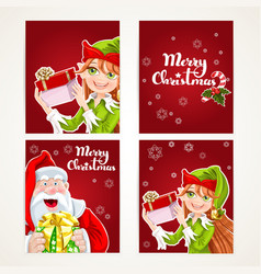 Santa claus and elf with gift on christmas vector