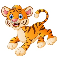 Cute tiger cub is smiling vector