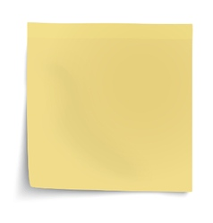Yellow sticky note with turned up corner isolated vector