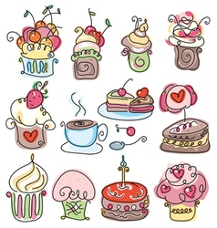 Icons of cupcakes vector
