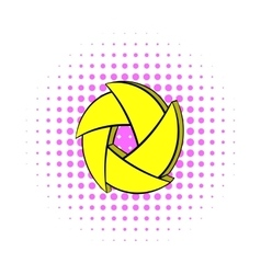 Yellow camera aperture icon comics style vector