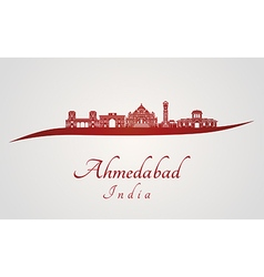 Ahmedabad skyline in red vector