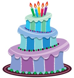 big birthday cake vector image vector image