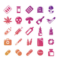 bright medicine silhouette icons set vector image