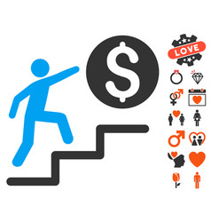 business steps icon with lovely bonus vector image