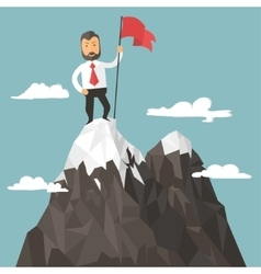 Businessman with flag on a Mountain peak success vector image