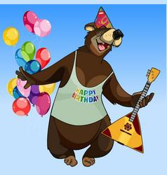 cartoon character happy bear with a balalaika vector image
