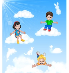 Cartoon Happy little kids sitting on cloud vector image