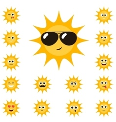 cartoon sun set with funny smiley faces vector image vector image