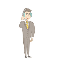 Caucasian customer service operator in headset vector