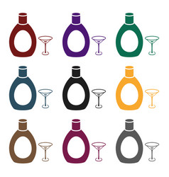 Chocolate liqueur icon in black style isolated on vector