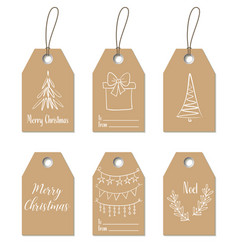 christmas gift tags hand drawn craft labels vector image