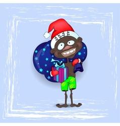 Dark skinned santa claus vector