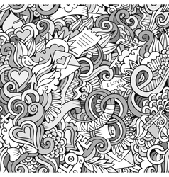 Doodles Love sketchy seamless pattern vector image vector image