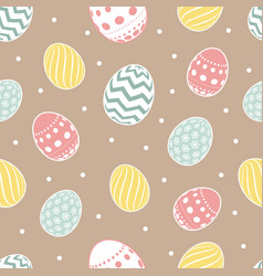 Easter seamless pattern flowers eggs vector