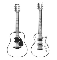 electric and acoustic guitars vector image