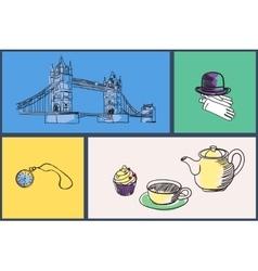 English National Symbols Doodle Set vector image