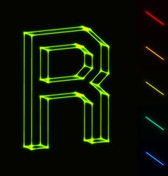 EPS10 glowing wireframe letter R - easy to change vector image