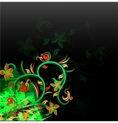Floral green on grunge background vector