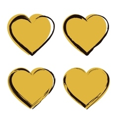 Golden heart icon set vector