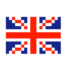 great britain pixel flag art cartoon retro game vector image