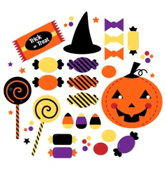 Halloween cute sweet candy collection vector