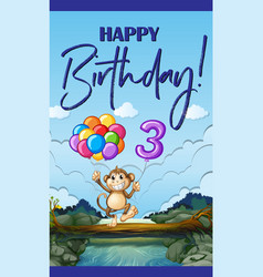 Happy birthday card for three year old vector