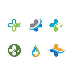health medical logo template design vector image vector image