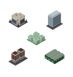 Isometric urban set of company house office and vector
