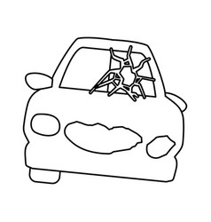 line crash car and dangerous automobile accident vector image vector image