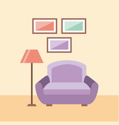 living room interior a sofa lamp and frames vector image