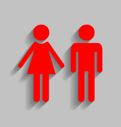 Male and female sign red icon with soft vector