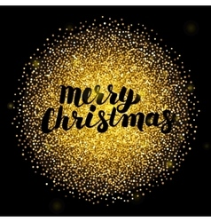 Merry Christmas over Gold Circle vector image