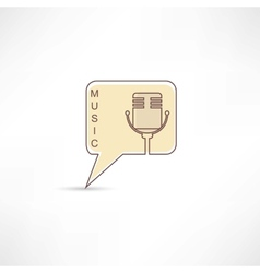 Microphone into brown speech bubble vector image
