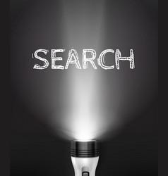 Realistic flashlight search concept vector