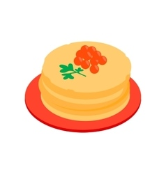 Roasted pancakes with caviar isometric 3d icon vector