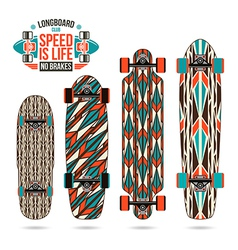 Set of decorative print on longboard vector image vector image