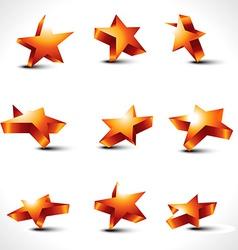 set of nine differernt stars vector image