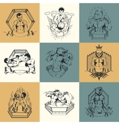 Set of nine on martial arts topic vector