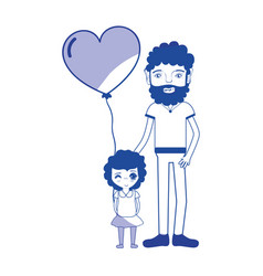 Silhouette father with his daughter and heart vector