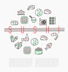 sushi bar circle concept with thin line icons vector image vector image
