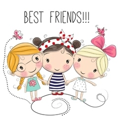 Three cute cartoon girls vector