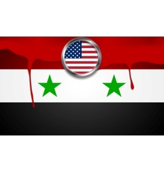 Usa and syria political concept background vector