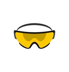 Yellow safety glasses icon flat style vector image