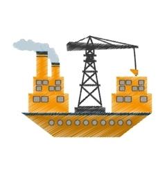 Yellow ship cargo crane chimney vector